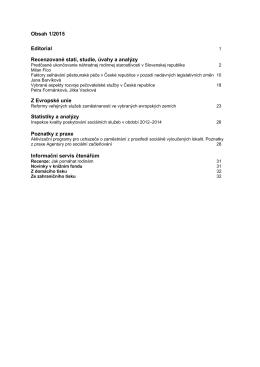 Obsah 1/2015 Editorial Recenzované stati, studie, úvahy a analýzy