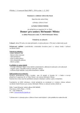 Výběrové řízení - Portál pro sociální oblast města Prahy