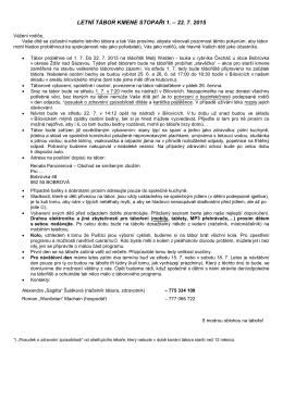 LETNÍ TÁBOR KMENE STOPAŘI 1. – 22. 7. 2015