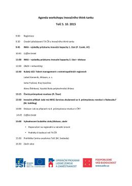 Agenda workshopu Inovačního think tanku Telč 5