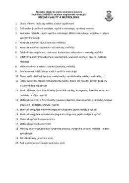 Řízení kvality a metrologie (ŘKaM)