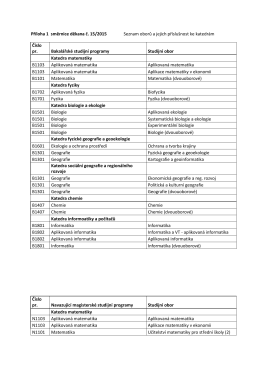 Příloha 1 směrnice děkana č. 15/2015 Seznam oborů a jejich