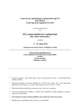 XIX. postgraduální kurz epileptologie