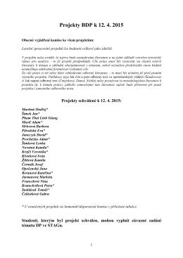 Projekty BDP k 12. 4. 2015 - Katedra mediálních a kulturálních studií