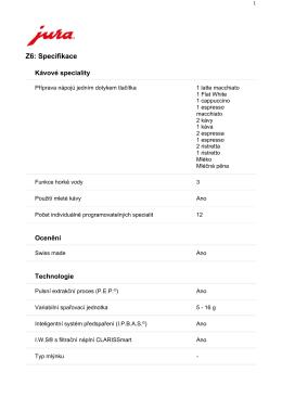 JURA Impressa Z6 - technická data ke stažení