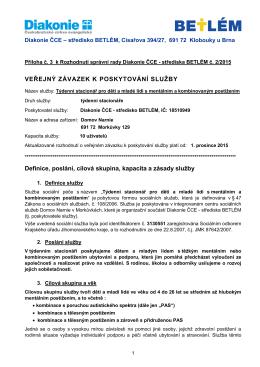 veřejný závazek - Diakonie ČCE - středisko BETLÉM, Klobouky u Brna