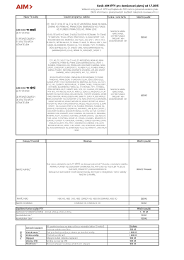 Ceník AIM IPTV pro domácnosti platný od 1.7.2015
