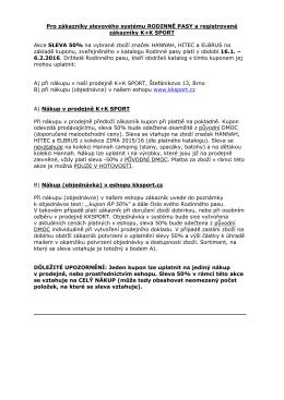 Pro zákazníky slevového systému RODINNÉ PASY a