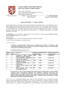 Dražební vyhláška - Exekutorský úřad Brno