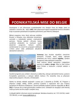 podnikatelská mise do belgie - Krajská hospodářská komora jižní