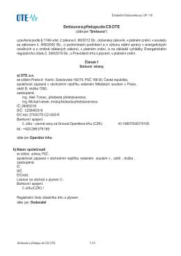 Smlouva o přístupu do CS OTE