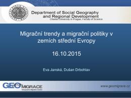 Migrační trendy a migrační politiky v zemích střední Evropy 16.10.2015