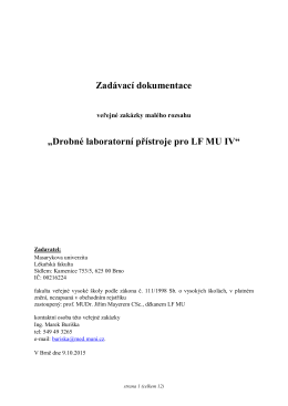 """Zadávací dokumentace """"Drobné laboratorní přístroje - E"""