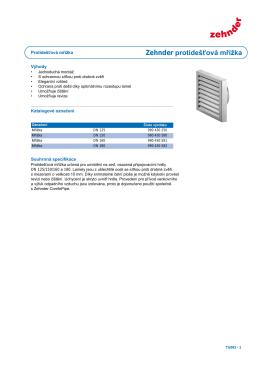 Technická specifikace Zehnder protidešťová mřížka