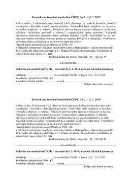 Pozvánka na kondiční soustředění ČKPK 16. 2.