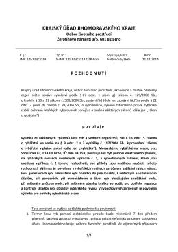 Rozhodnutí KÚ JM-výjimka ze zákazu lovu el. proudem č.j. 135