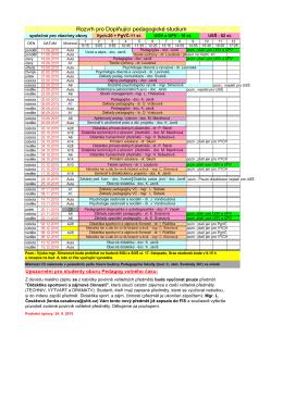 Rozvrh DPS pro zimní semestr 2015