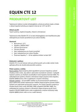 Produktový list EQUEN CTE 12 - AV