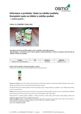 Informace o produktu: Sada na údržbu podlahy