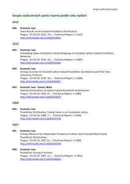 Soupis výzkumných zpráv řazený podle roku vydání