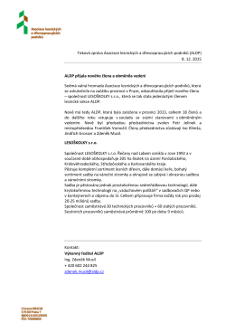 Tisková zpráva Asociace lesnických a dřevozpracujících podniků