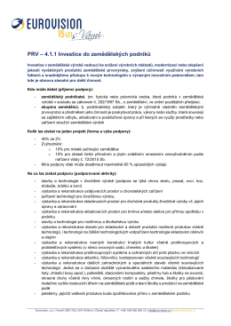 4.1.1 Investice do zemědělských podniků