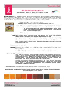 Technický list WIGODECOR® Holzlasur