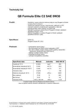 Technický list Q8 Formula Elite C2 SAE 0W30