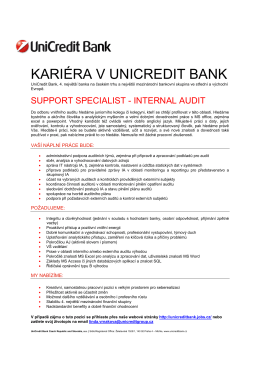 KARIÉRA V UNICREDIT BANK