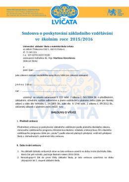 Smlouva - Univerzitní mateřská škola Lvíčata