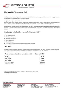 Ceník hromadná SMS - Metropolitní Havlíčkův Brod