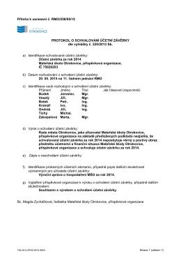 Příloha k usnesení schválená na RMO
