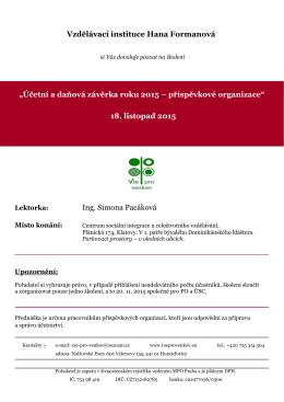 """Vzdělávací instituce Hana Formanová """"Účetní a daňová závěrka"""