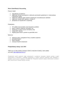 Hlavní účetní/Head of Accounting Pracovní náplň