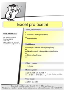 Excel pro účetní - termín: 26.10.2015