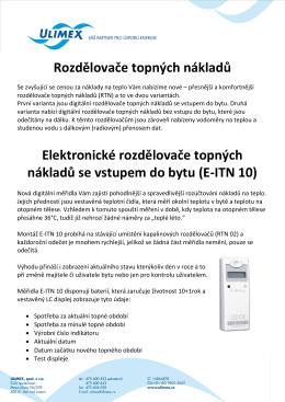 Rozdělovače topných nákladů Elektronické rozdělovače topných