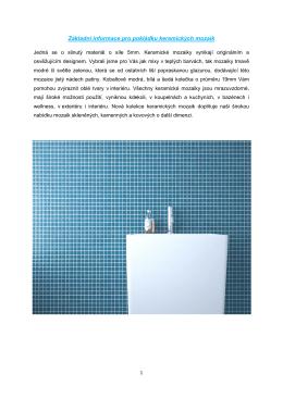 Základní informace pro pokládku keramických mozaik