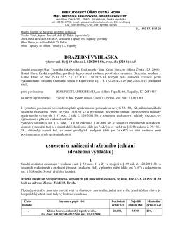usnesení o nařízení dražebního jednání (dražební vyhlášku)