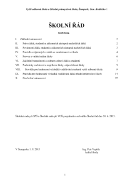 Školní řád 2015-16 - VOŠ a SPŠ Šumperk