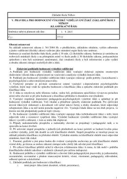 Pravidla pro hodnocení výsledků vzdělávání