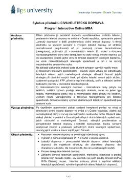 Sylabus předmětu CIVILNÍ LETECKÁ DOPRAVA Program