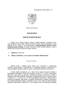 Rozsudek Krajského soudu v Hradci Králové
