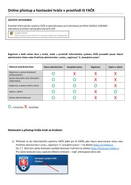 Online přestup a hostování hráče v prostředí IS FAČR