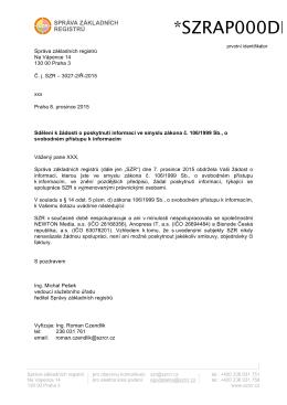 Sdělení k žádosti T. B - Správa základních registrů