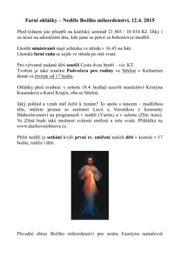 Farní ohlášky – Neděle Božího milosrdenství, 12.4. 2015