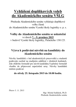 Vyhlášení doplňkových voleb do Akademického senátu VŠLG