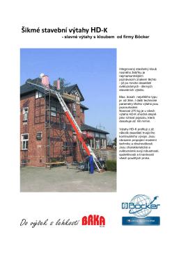 Prospekt šikmých stavebních výtahů HD K firmy Böcker