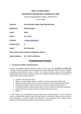 Zápis ze schůze výboru 26.2.2015