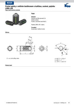 Pružné opěrky s vnitřním šestihranem a kuličkou, ocelové, pojistka