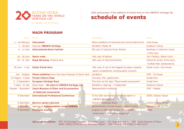 schedule of events - Kutná Hora